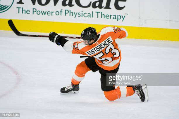 Philadelphia Flyers Defenceman Shayne Gostisbehere fires a shot in the first period during the game between the Florida Panthers and Philadelphia...