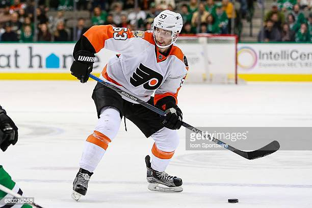 Philadelphia Flyers Defenceman Shayne Gostisbehere sets up to shoot from the blue line during the NHL game between the Philadelphia Flyers and Dallas...