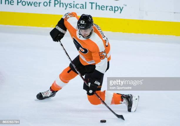 Philadelphia Flyers Defenceman Shayne Gostisbehere takes a shot in the first period during the game between the Florida Panthers and Philadelphia...