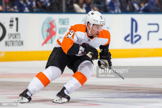 Philadelphia Flyers defenseman Ivan Provorov skates against the Toronto Maple Leafs during the first period at the Air Canada Centre on October 28...