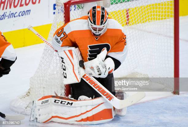 Philadelphia Flyers Goalie Brian Elliott makes a save in the third period during the game between the Vancouver Canucks and Philadelphia Flyers on...
