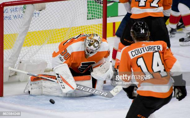 Philadelphia Flyers Goalie Michal Neuvirth makes a save in the second period during the game between the Florida Panthers and Philadelphia Flyers on...