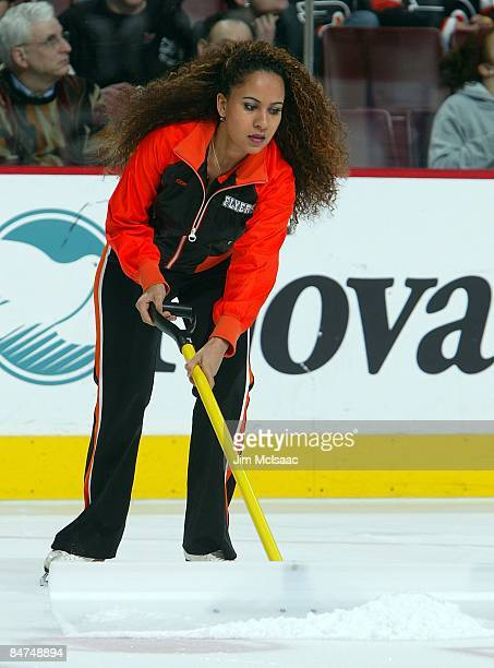 Philadelphia Flyers ice girl skates during a timeout against the Boston Bruins on February 4 2009 at Wachovia Center in Philadelphia Pennsylvania