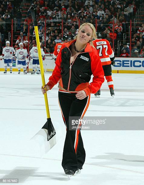 Philadelphia Flyers ice girl skates during a timeout against the Montreal Canadiens on February 27 2009 at Wachovia Center in Philadelphia...