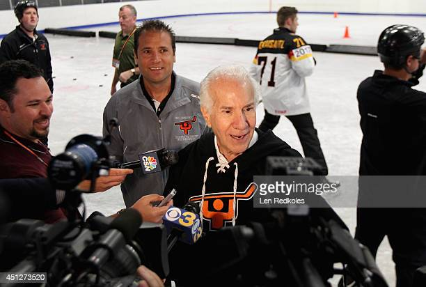 Philadelphia Flyers owner Ed Snider is interviewed during the Top Prospect Clinic as part of the 2014 NHL Entry Draft at Scanlon Rink on June 26 2014...