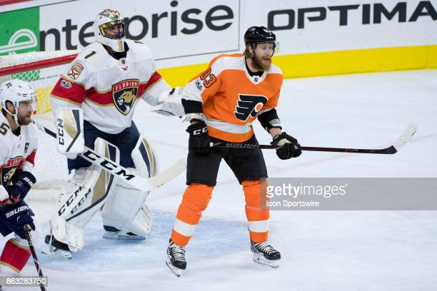 Philadelphia Flyers Right Wing Jakub Voracek takes position in front of Florida Panthers Goalie Roberto Luongo in the first period during the game...