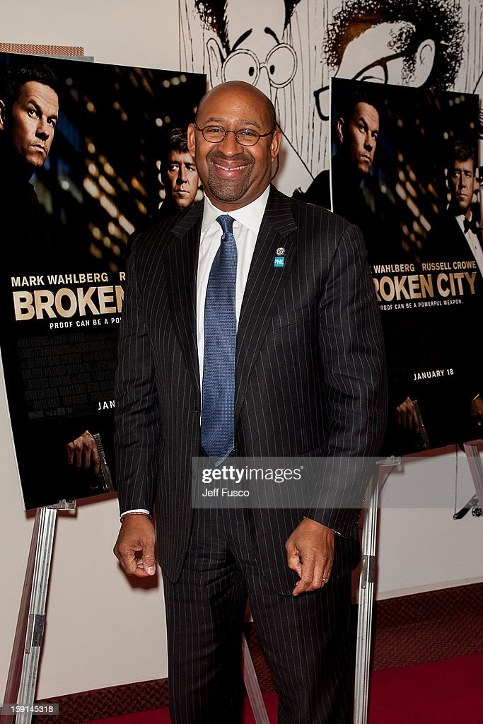 Philadelphia Mayor <a gi-track='captionPersonalityLinkClicked' href=/galleries/search?phrase=Michael+Nutter&family=editorial&specificpeople=4695146 ng-click='$event.stopPropagation()'>Michael Nutter</a> attends the Philadelphia screening of the movie 'Broken City' at the Prince Music Theater January 8, 2013 in Philadelphia, Pennsylvania.