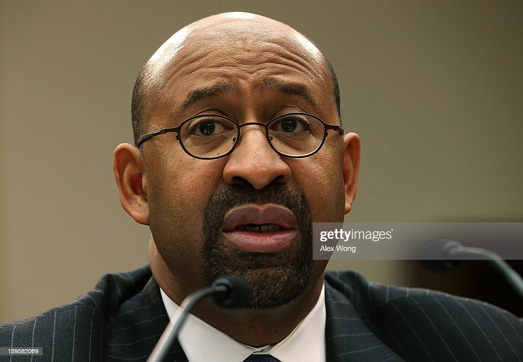 Philadelphia Mayor <a gi-track='captionPersonalityLinkClicked' href=/galleries/search?phrase=Michael+Nutter&family=editorial&specificpeople=4695146 ng-click='$event.stopPropagation()'>Michael Nutter</a> testifies during a hearing before the House Democratic Steering and Policy Committee January 16, 2013 on Capitol Hill in Washington, DC. The committee held a hearing to focus on 'Gun Violence Prevention: A Call to Action.'