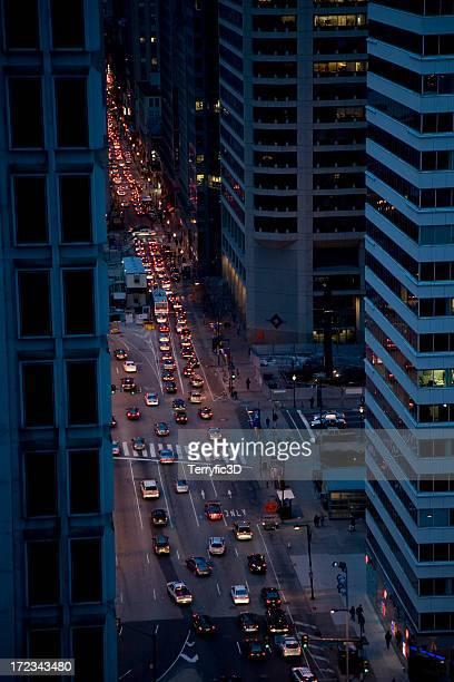 Philadelphia Night Street Traffic Aerial View between Skyscrapers