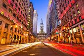 Philadelphia, Pennsylvania, USA downtown cityscape on Broad Street at City Hall.