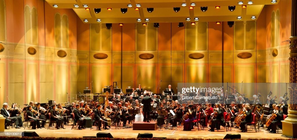 Philadelphia Orchestra and New Music Director Yannick Nezet-Seguin (C) perform during The Academy Of Music 156th Anniversary Concert And Ball at Academy of Music on January 26, 2013 in Philadelphia, Pennsylvania.