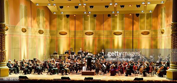 Philadelphia Orchestra and New Music Director Yannick NezetSeguin perform during The Academy Of Music 156th Anniversary Concert And Ball at Academy...