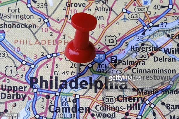 Philadelphia, Pennsylvania on a map