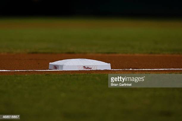 Philadelphia Phillies base is seen on the baseline during the game against the New York Mets at Citizens Bank Park on September 21 2013 in...