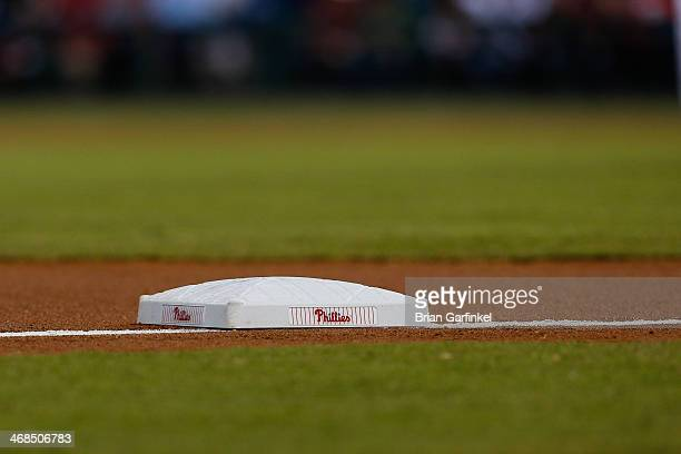 Philadelphia Phillies base is seen on the third base line during the game against the Miami Marlins at Citizens Bank Park on September 18 2013 in...