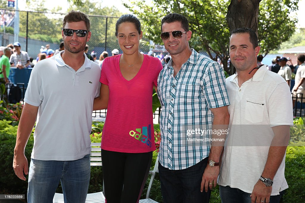 MLB Philadelphia Phillies Baseball Players <a gi-track='captionPersonalityLinkClicked' href=/galleries/search?phrase=Kevin+Frandsen&family=editorial&specificpeople=3982842 ng-click='$event.stopPropagation()'>Kevin Frandsen</a>, Tennis player <a gi-track='captionPersonalityLinkClicked' href=/galleries/search?phrase=Ana+Ivanovic&family=editorial&specificpeople=542118 ng-click='$event.stopPropagation()'>Ana Ivanovic</a> of Serbia, <a gi-track='captionPersonalityLinkClicked' href=/galleries/search?phrase=Michael+Young+-+Baseball+Player&family=editorial&specificpeople=203149 ng-click='$event.stopPropagation()'>Michael Young</a> and <a gi-track='captionPersonalityLinkClicked' href=/galleries/search?phrase=John+McDonald+-+Baseball+Player&family=editorial&specificpeople=215395 ng-click='$event.stopPropagation()'>John McDonald</a> pose on Day Two of the 2013 US Open at USTA Billie Jean King National Tennis Center on August 27, 2013 in the Flushing neighborhood of the Queens borough of New York City.