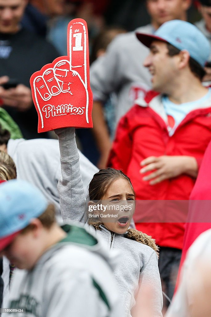 A Philadelphia Phillies fan waves a foam finger after the game against the Cincinnati Reds at Citizens Bank Park on May 19, 2013 in Philadelphia, Pennsylvania. The Phillies won 3-2.