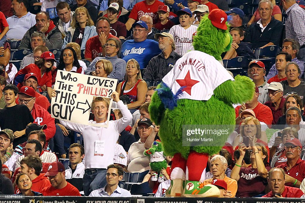 A Philadelphia Phillies fans holds a sign during a game against the Washington Nationals at Citizens Bank Park on September 26, 2012 in Philadelphia, Pennsylvania. The Nationals won 8-4.