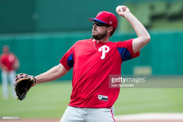 Philadelphia Phillies First base Brock Stassi warms up during the Major League Baseball game between the Philadelphia Phillies and the Pittsburgh...