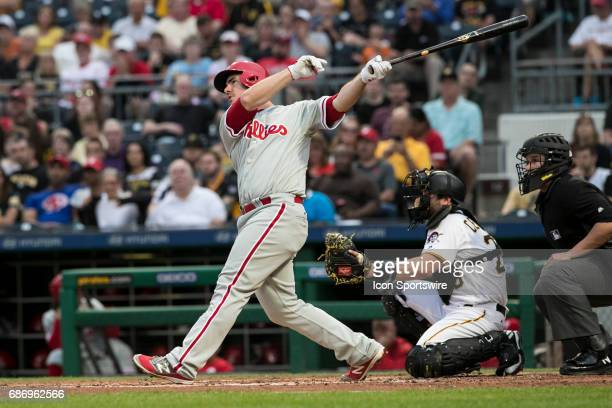 Philadelphia Phillies First base Tommy Joseph watches a fly ball hit during the Major League Baseball game between the Philadelphia Phillies and the...