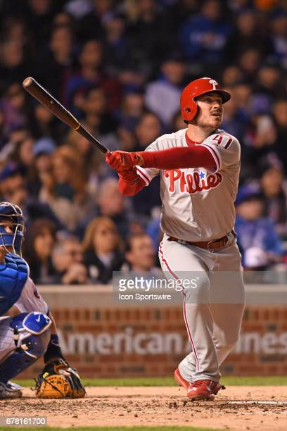 Philadelphia Phillies first baseman Brock Stassi hits a double in the fourth inning during a game between the Philadelphia Phillies and the Chicago...