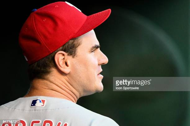 Philadelphia Phillies first baseman Tommy Joseph comes into the dugout during an MLB game between the Philadelphia Phillies and the Washington...