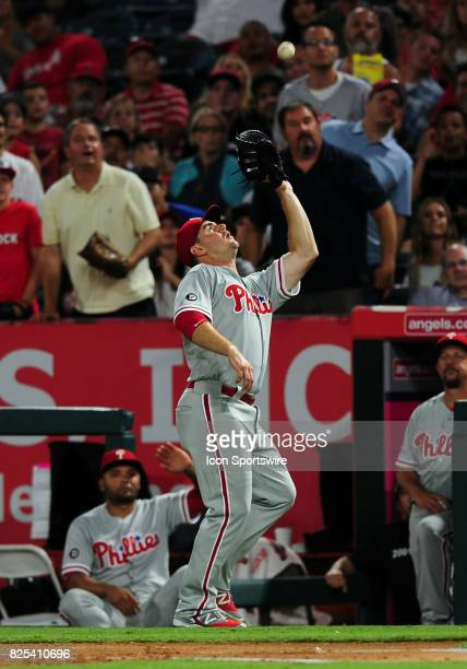 Philadelphia Phillies first baseman Tommy Joseph gets under a foul ball hit in the air in the fifth inning of a game against the Los Angeles Angels...