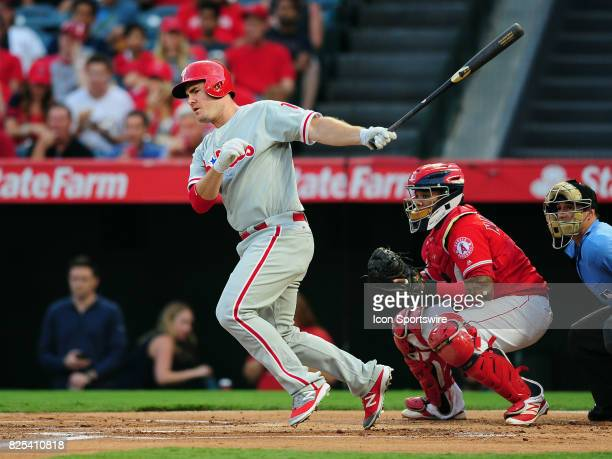 Philadelphia Phillies first baseman Tommy Joseph hits a single and drives in a run in the first inning of a game against the Los Angeles Angels of...