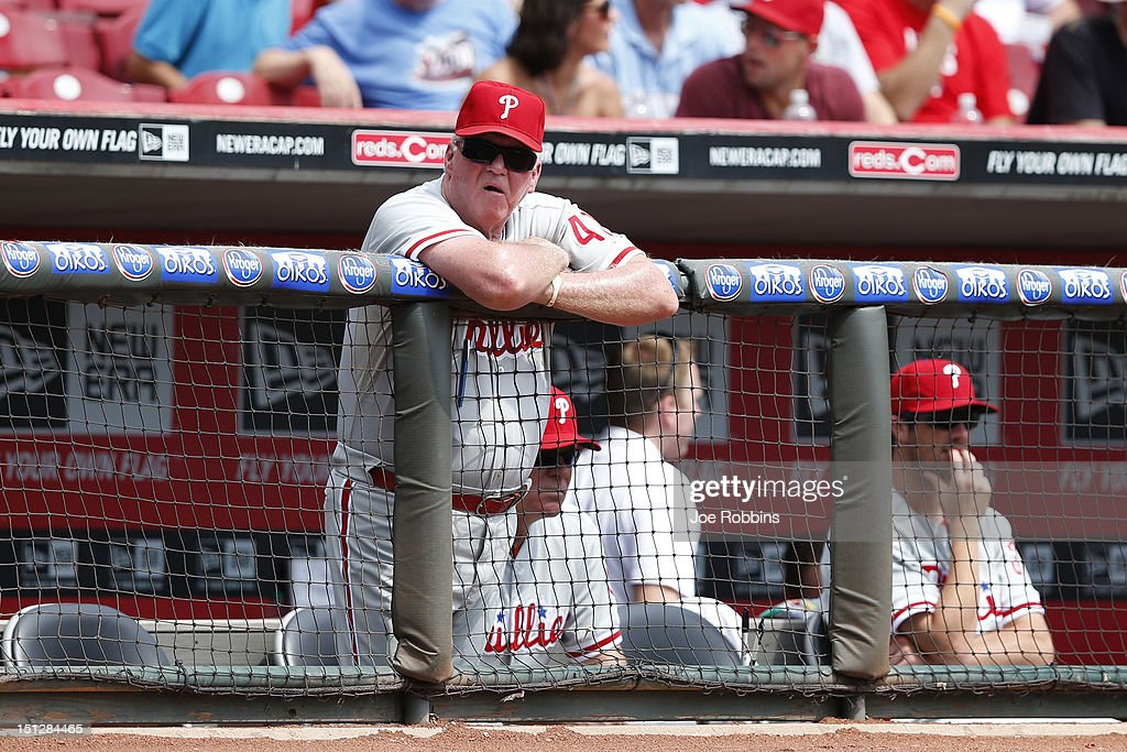 Philadelphia Phillies manager <a gi-track='captionPersonalityLinkClicked' href=/galleries/search?phrase=Charlie+Manuel&family=editorial&specificpeople=217967 ng-click='$event.stopPropagation()'>Charlie Manuel</a> looks on during the game against the Cincinnati Reds at Great American Ball Park on September 5, 2012 in Cincinnati, Ohio. The Phillies won 6-2.