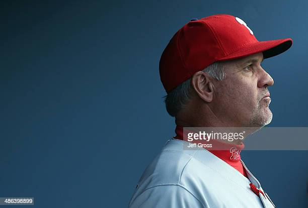 Philadelphia Phillies manager Ryne Sandberg looks on against the Los Angeles Dodgers at Dodger Stadium on April 22 2014 in Los Angeles California
