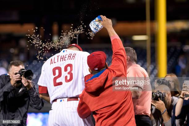 Philadelphia Phillies Outfield Aaron Altherr gets a peanut bath for hitting the gamewinning grand slam after the game between the Los Angeles Dodgers...