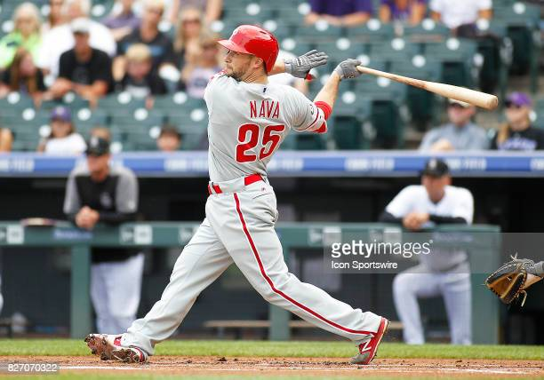 Philadelphia Phillies Outfielder Daniel Nava bats during a regular season MLB game between the Colorado Rockies and the visiting Philadelphia...