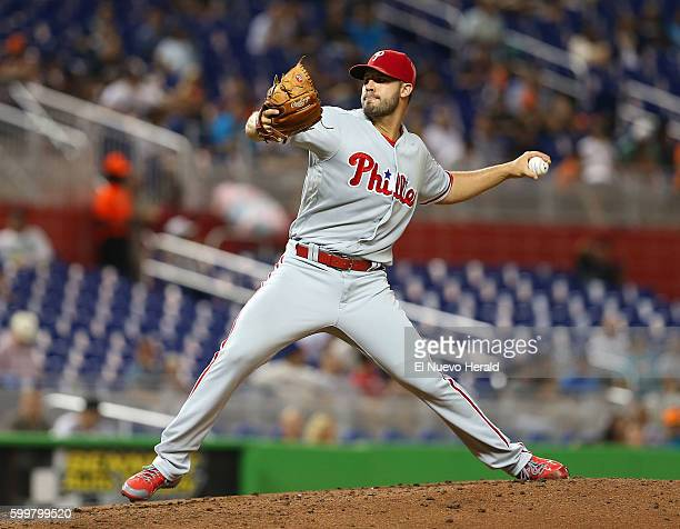 Philadelphia Phillies pitcher Adam Morgan works during the fourth inning against the Miami Marlins at Marlins Park in Miami on Tuesday Sept 6 2016