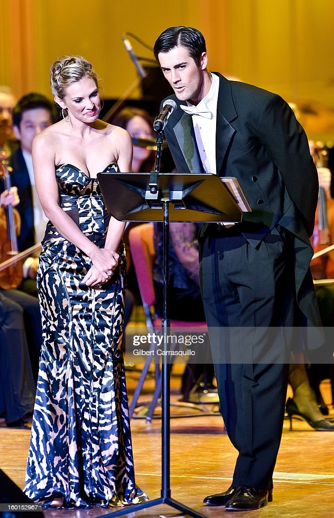 Philadelphia Phillies pitcher Cole Hamels(R) and Heidi Hamels on stage during The Academy Of Music 156th Anniversary Concert And Ball at Academy of Music on January 26, 2013 in Philadelphia, Pennsylvania.