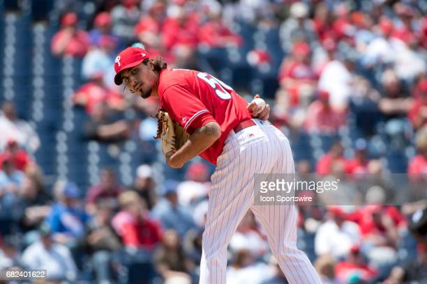 Philadelphia Phillies Pitcher Zach Eflin looks over at a runner in the third inning during the game between the Seattle Mariners and Philadelphia...