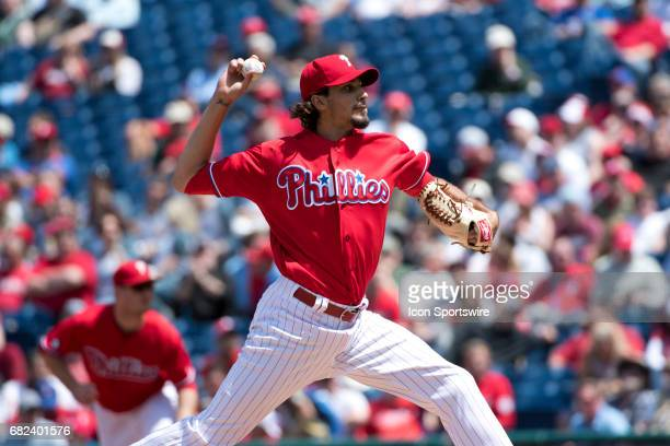 Philadelphia Phillies Pitcher Zach Eflin winds up in the second inning during the game between the Seattle Mariners and Philadelphia Phillies on May...