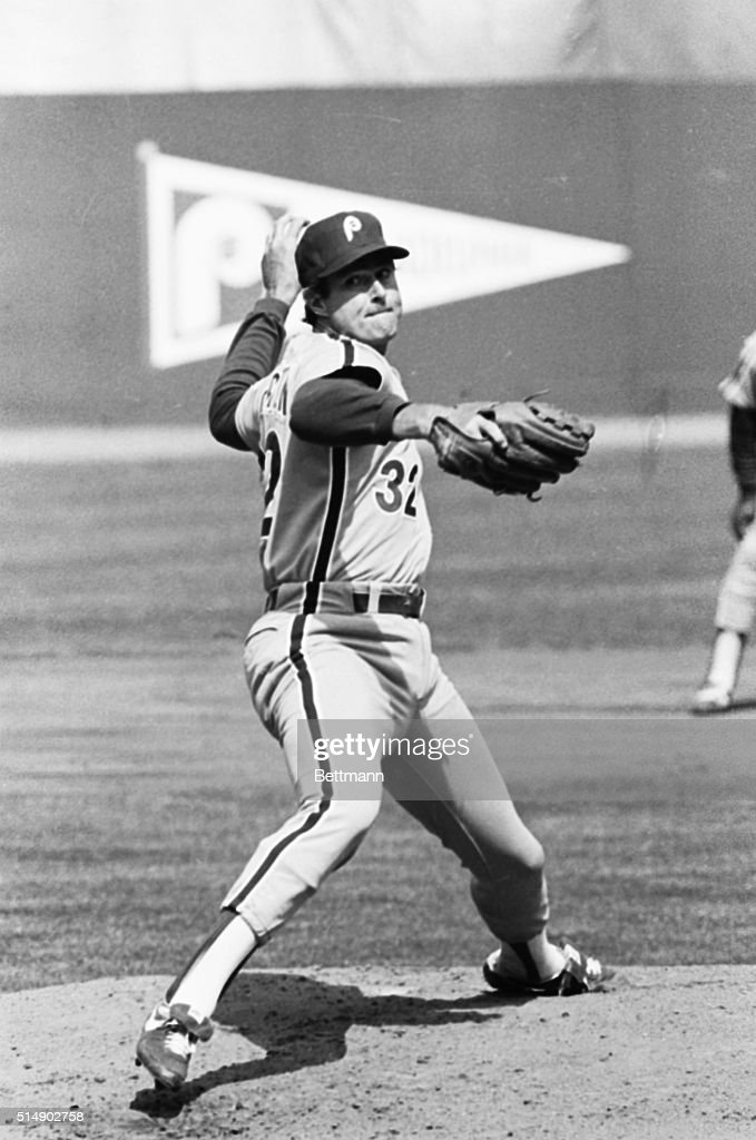 Philadelphia Phillies player Steve Carlton pitching against the New York Mets on April 5, 1983.