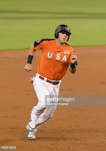 Philadelphia Phillies prospect Rhys Hoskins of the US Team runs the bases during the 2017 SiriusXM AllStar Futures Game at Marlins Park on July 9...
