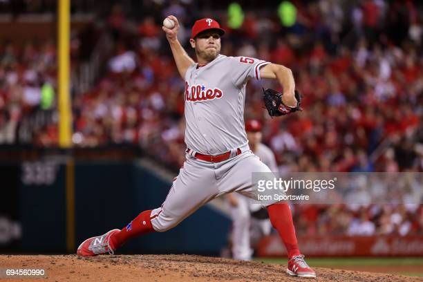 Philadelphia Phillies relief pitcher Casey Fien delivers during the seventh inning of a baseball game against the St Louis Cardinals June 9 at Busch...