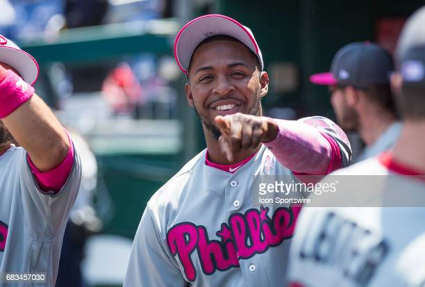 Philadelphia Phillies relief pitcher Joely Rodriguez spots the camera in the dugout during a MLB National League game between the Washington...