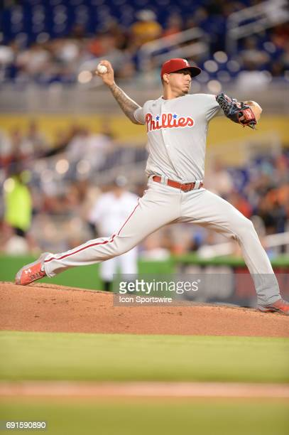 Philadelphia Phillies starting pitcher Vince Velasquez throwing a fastball pitch during a game between the Miami Marlins and the Philadelphia...