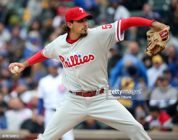 Philadelphia Phillies starting pitcher Zach Eflin delivers to the Chicago Cubs in the first inning on Thursday May 4 2017 at Wrigley Field in Chicago...