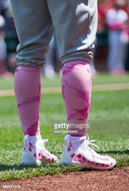 Philadelphia Phillies third baseman Andres Blanco wearing pink for Breast Cancer Awareness week during a MLB National League game between the...