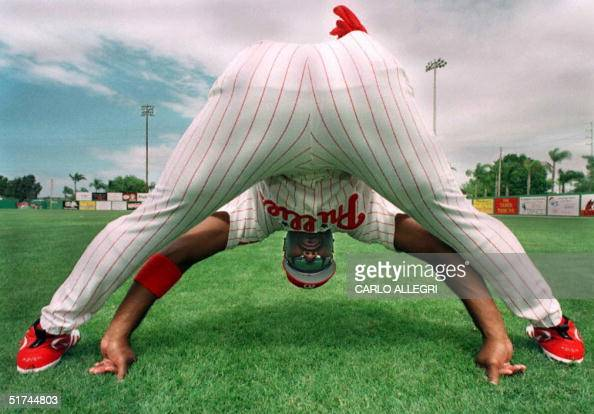 Philadelphia Phillies Wendell Magee stretches before his team's spring training game against the St Louis Cardinals at Jack Russell Stadium in...