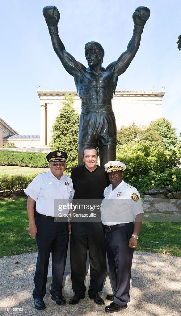 Philadelphia Police Commissioner Charles Ramsey, actor Chazz Palminteri and Philadelphia Fire Commissioner Lloyd Ayers attend 2013 Thrill Show photocall at the Rocky statue at the Philadelphia Museum of Art on September 21, 2013 in Philadelphia, Pennsylvania.