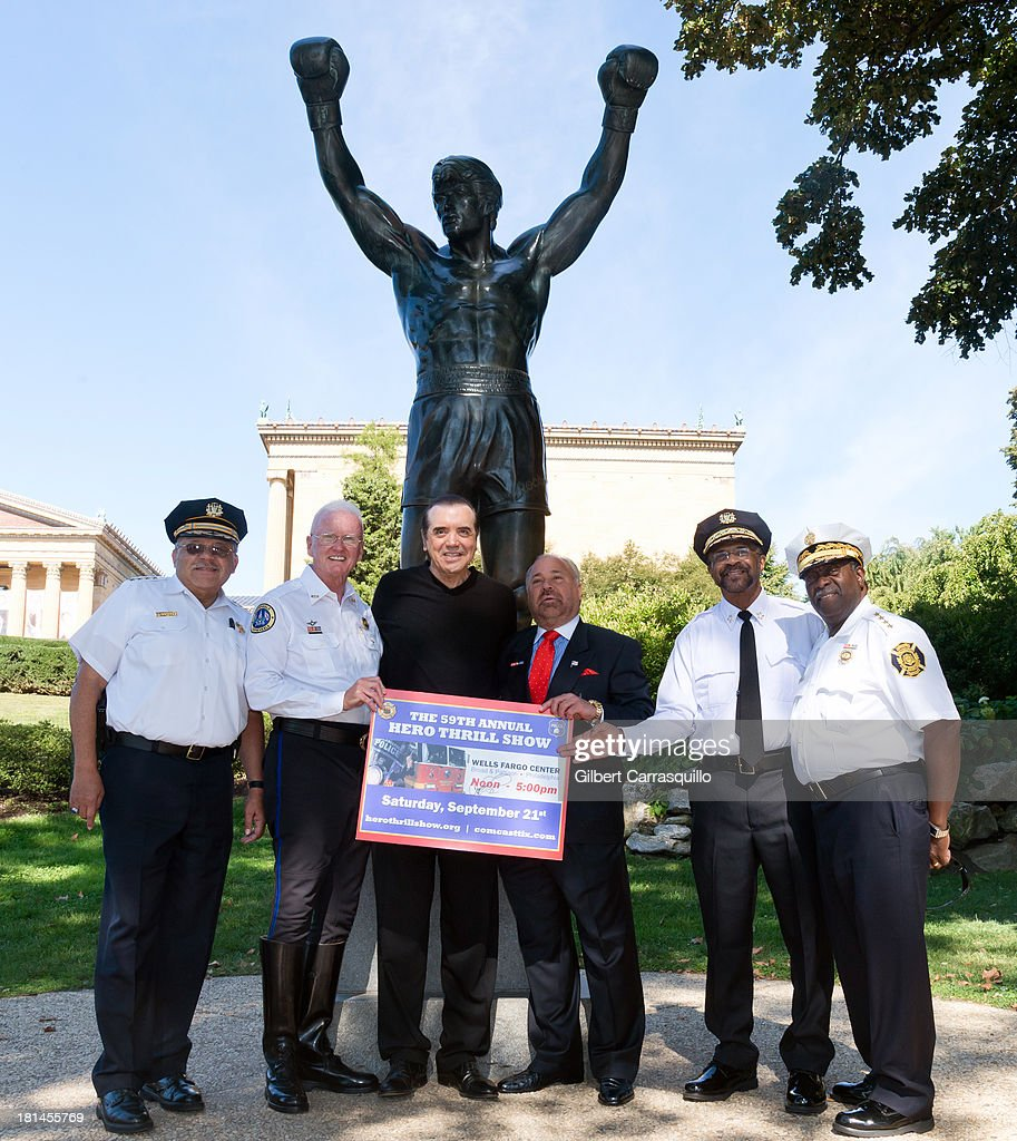 Philadelphia Police Commissioner Charles Ramsey, Hero Thrill Show president and CEO James ÒJimmyÓ Binns, actor Chazz Palminteri, The 2013 Grand Marshall Richard 'Bo' Dietl, Philadelphia Sheriff Jewell Williams and Philadelphia Fire Commissioner Lloyd Ayers attend 2013 Thrill Show photocall at the Rocky statue at the Philadelphia Museum of Art on September 21, 2013 in Philadelphia, Pennsylvania.