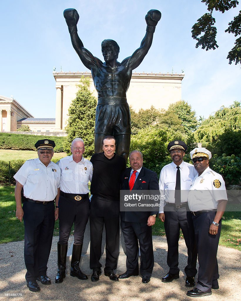 Philadelphia Police Commissioner Charles Ramsey, Hero Thrill Show president and CEO James ÒJimmyÓ Binns, actor <a gi-track='captionPersonalityLinkClicked' href=/galleries/search?phrase=Chazz+Palminteri&family=editorial&specificpeople=211446 ng-click='$event.stopPropagation()'>Chazz Palminteri</a>, The 2013 Grand Marshall Richard 'Bo' Dietl, Philadelphia Sheriff Jewell Williams and Philadelphia Fire Commissioner Lloyd Ayers attend 2013 Thrill Show photocall at the Rocky statue at the Philadelphia Museum of Art on September 21, 2013 in Philadelphia, Pennsylvania.