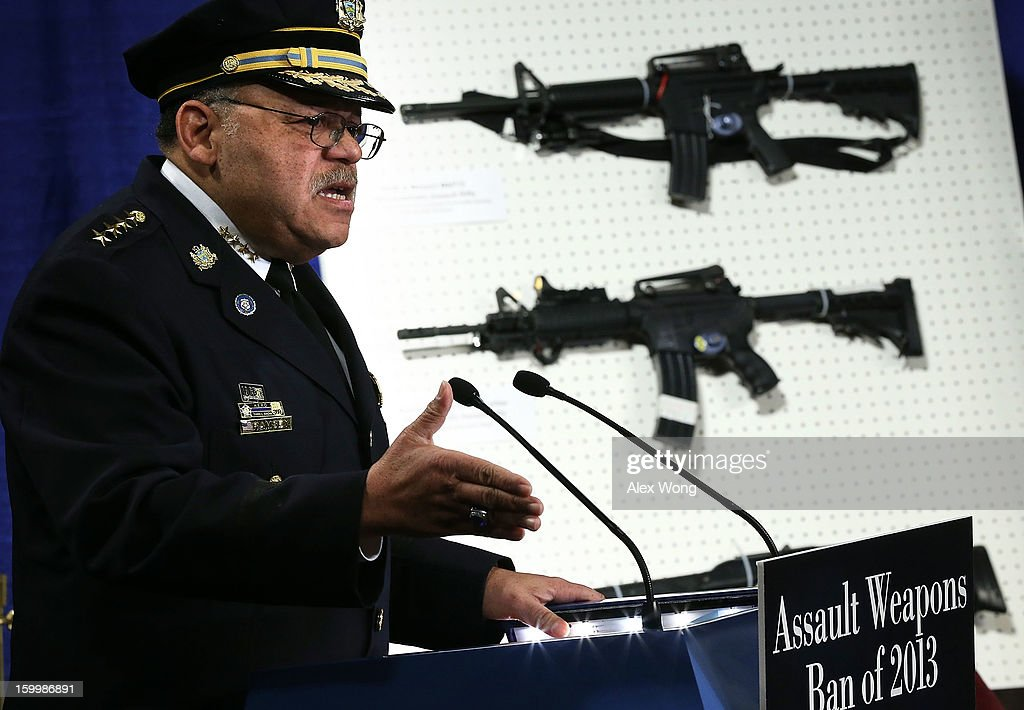 Philadelphia Police Department Commissioner Charles Ramsey speaks next to a display of assault weapons during a news conference January 24, 2013 on Capitol Hill in Washington, DC. U.S. Senator Dianne Feinstein (D-CA) announced that she will introduce a bill to ban assault weapons and high-capacity magazines capable of holding more than 10 rounds to help to stop gun violence.