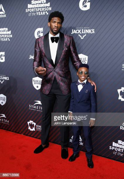 Philadelphia Sixers Joel Embiid and Maxwell' Bunchie' Young attend 2017 Sports Illustrated Sportsperson of the Year Awards at Barclays Center on...