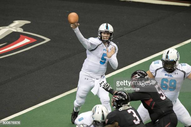 Philadelphia Soul QB Dan Raudabaugh throws a pass during the fourth quarter of the Arena Football League game between the Philadelphia Soul and...
